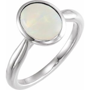 14K White 10x8 mm Oval Cabochon Ethiopian Opal Ring