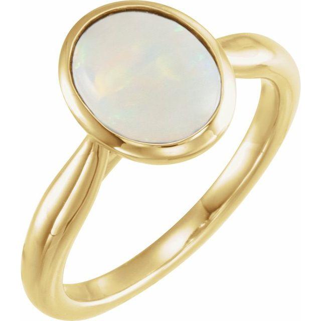 14K Yellow 10x8 mm Oval Cabochon Ethiopian Opal Ring