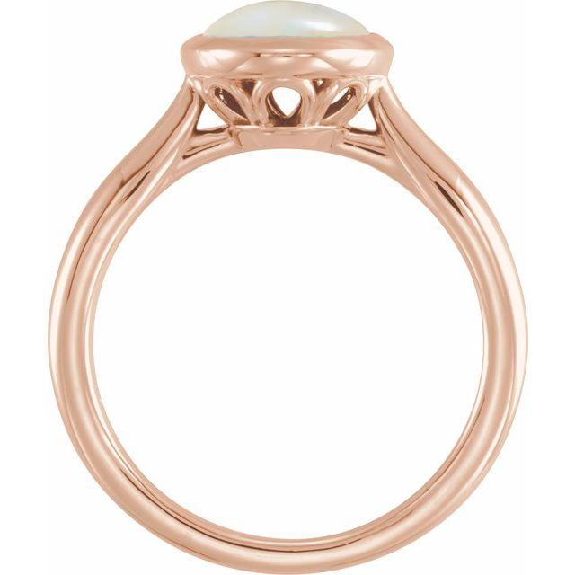 14K Rose 10x8 mm Oval Cabochon Ethiopian Opal Ring