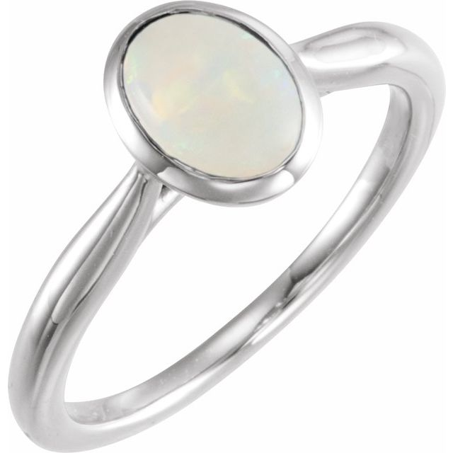 Sterling Silver 8x6 mm Oval Cabochon Ethiopian Opal Ring