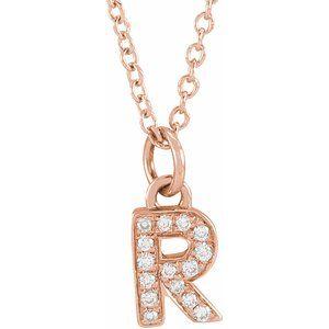 "14K Rose .05 CTW Diamond Petite Initial R 16-18"" Necklace"