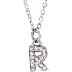 "14K White .05 CTW Diamond Petite Initial R 16-18"" Necklace"