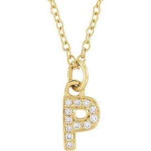 "14K Yellow .04 CTW Diamond Petite Initial P 16-18"" Necklace"