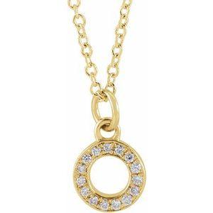 "14K Yellow .05 CTW Diamond Petite Initial O 16-18"" Necklace"