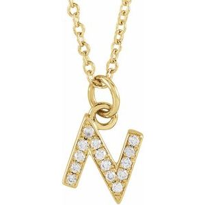 "14K Yellow .05 CTW Diamond Petite Initial N 16-18"" Necklace"