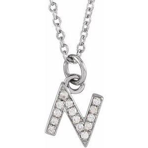 "14K White .05 CTW Diamond Petite Initial N 16-18"" Necklace"