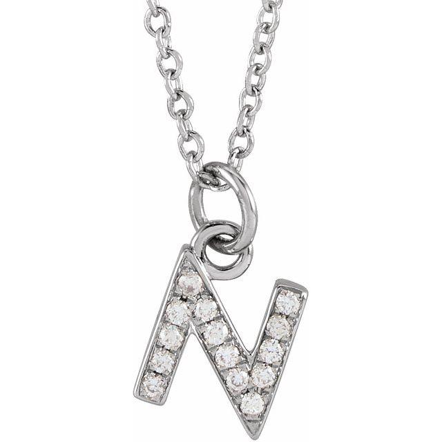 14K White .05 CTW Diamond Petite Initial N 16-18