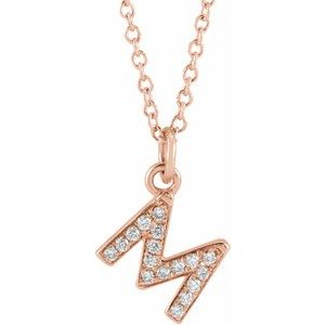 "14K Rose .06 CTW Diamond Petite Initial M 16-18"" Necklace"