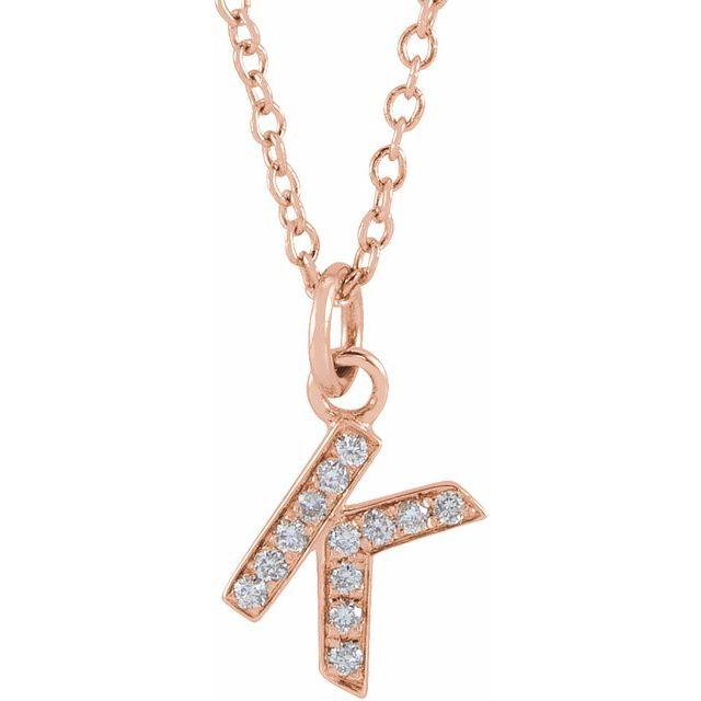 14K Rose .045 CTW Diamond Petite Initial K 16-18