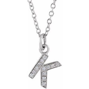 "14K White .045 CTW Diamond Petite Initial K 16-18"" Necklace"