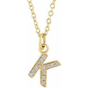 "14K Yellow .045 CTW Diamond Petite Initial K 16-18"" Necklace"
