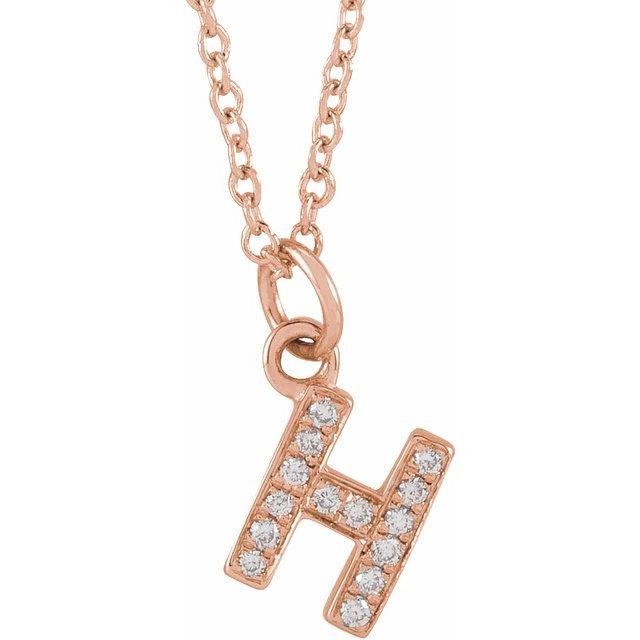 14K Rose .05 CTW Diamond Petite Initial H 16-18