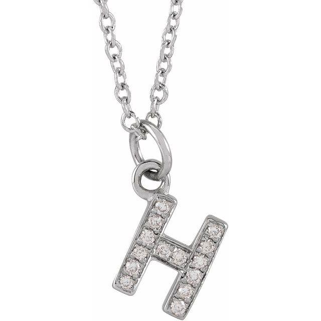 14K White .05 CTW Diamond Petite Initial H 16-18