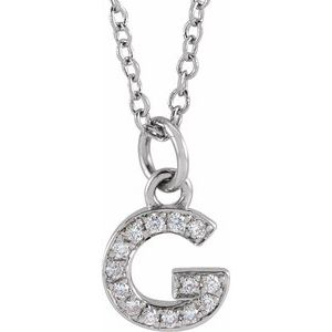 "14K White .05 CTW Diamond Petite Initial G 16-18"" Necklace"