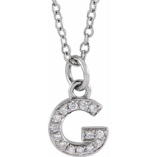 14K White .05 CTW Diamond Petite Initial G 16-18