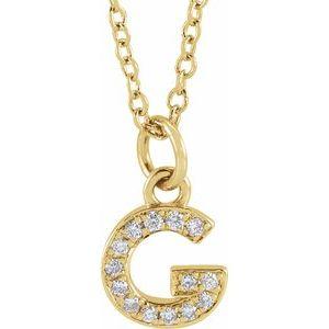 "14K Yellow .05 CTW Diamond Petite Initial G 16-18"" Necklace"