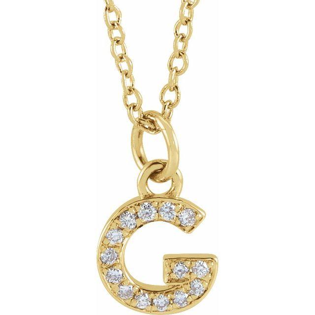 14K Yellow .05 CTW Diamond Petite Initial G 16-18
