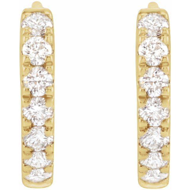 14K Yellow 1/5 CTW Lab-Grown Diamond Hoop Earrings