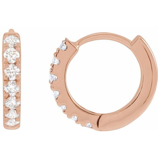 14K Rose 1/5 CTW Lab-Grown Diamond Hoop Earrings