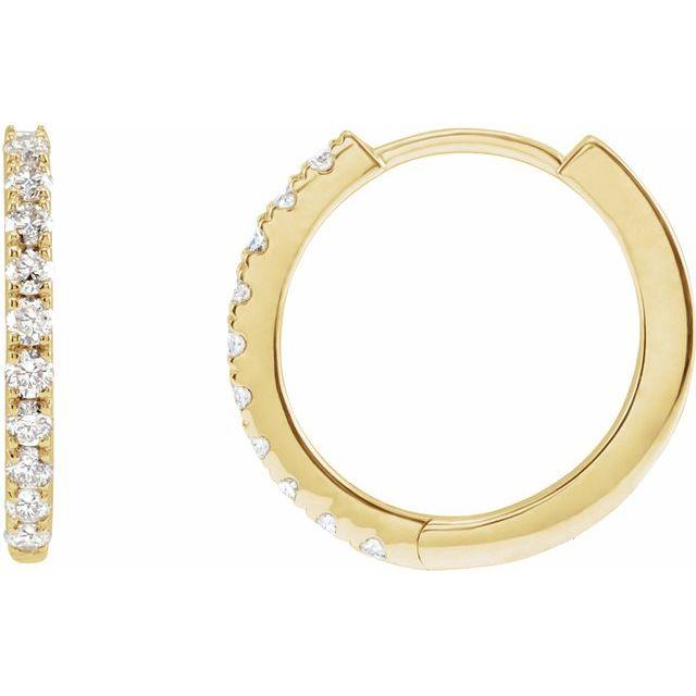 14K Yellow 1/4 CTW Lab-Grown Diamond Hoop Earrings