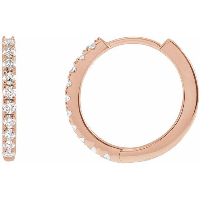 14K Rose 1/4 CTW Lab-Grown Diamond Hoop Earrings