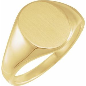 14K Yellow 14.6x12.1 mm Oval Signet Ring