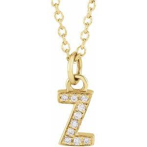 "14K Yellow .03 CTW Diamond Petite Initial Z 16-18"" Necklace"