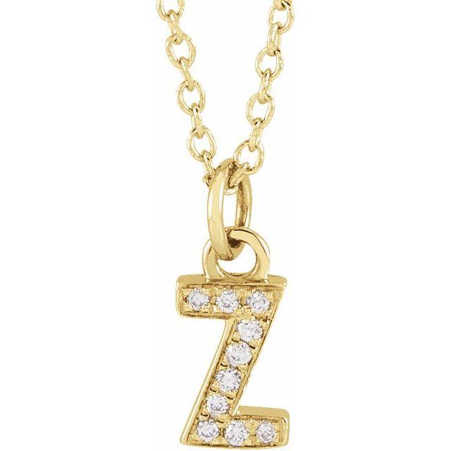 14K Yellow .03 CTW Diamond Petite Initial Z 16-18