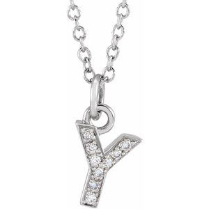 "14K White .03 CTW Diamond Petite Initial Y 16-18"" Necklace"