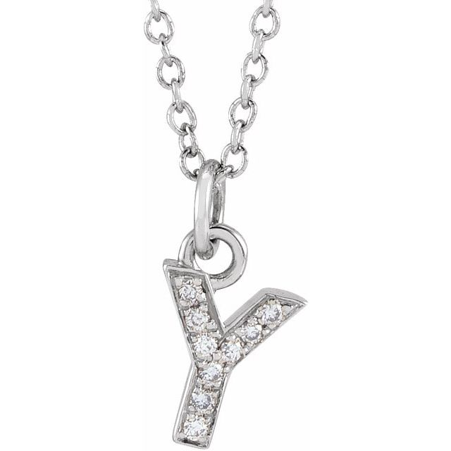 14K White .03 CTW Diamond Petite Initial Y 16-18