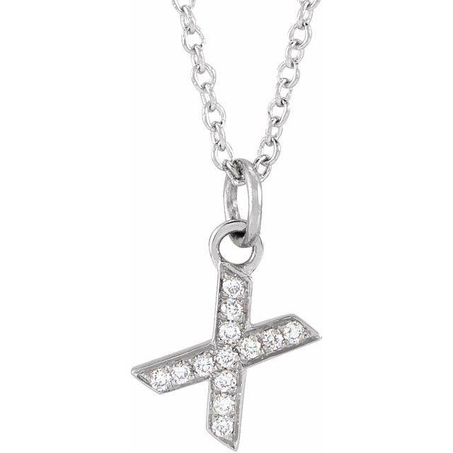 14K White .04 CTW Diamond Petite Initial X 16-18