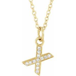 "14K Yellow .04 CTW Diamond Petite Initial X 16-18"" Necklace"