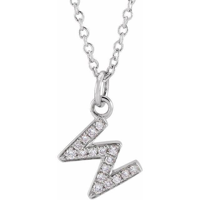 14K White .06 CTW Diamond Petite Initial W 16-18