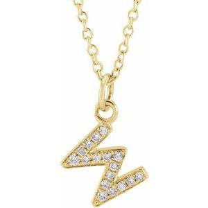 "14K Yellow .06 CTW Diamond Petite Initial W 16-18"" Necklace"