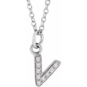 "14K White .03 CTW Diamond Petite Initial V 16-18"" Necklace"