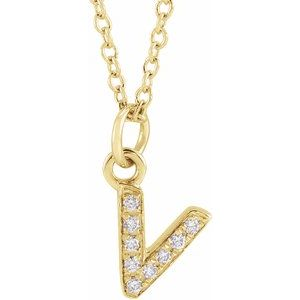 "14K Yellow .03 CTW Diamond Petite Initial V 16-18"" Necklace"