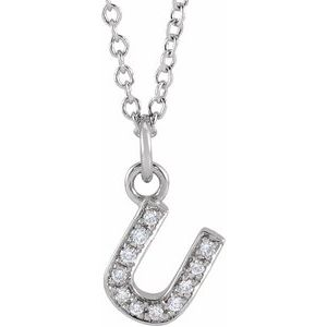 "14K White .04 CTW Diamond Petite Initial U 16-18"" Necklace"