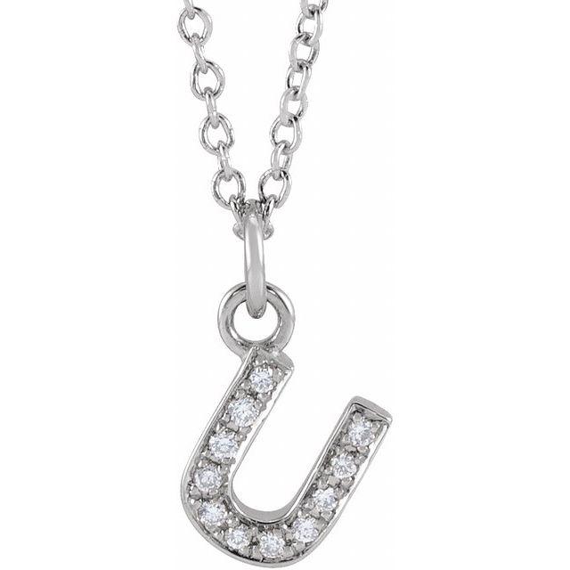14K White .04 CTW Diamond Petite Initial U 16-18