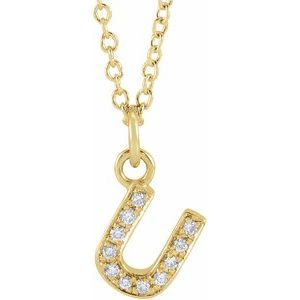 "14K Yellow .04 CTW Diamond Petite Initial U 16-18"" Necklace"