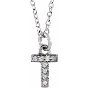 "14K White .03 CTW Diamond Petite Initial T 16-18"" Necklace"