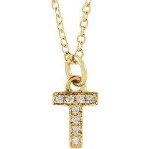 "14K Yellow .03 CTW Diamond Petite Initial T 16-18"" Necklace"