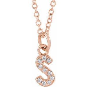 "14K Rose .04 CTW Diamond Petite Initial S 16-18"" Necklace"