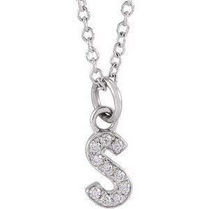 "14K White .04 CTW Diamond Petite Initial S 16-18"" Necklace"