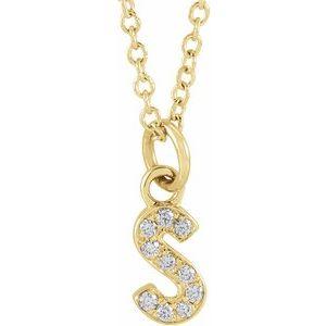 "14K Yellow .04 CTW Diamond Petite Initial S 16-18"" Necklace"