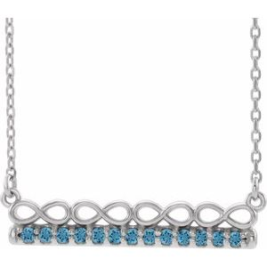 "14K White Aquamarine Infinity-Inspired Bar 16"" Necklace"