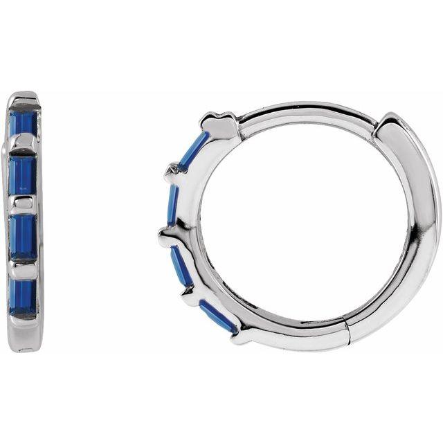 14K White Blue Sapphire Huggies