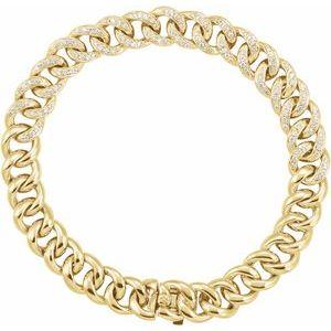 "14K Yellow 3/4 CTW Diamond Curb 7"" Bracelet"