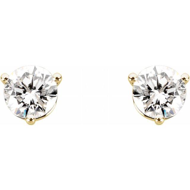 14K Yellow 1 1/2 CTW Diamond Earrings