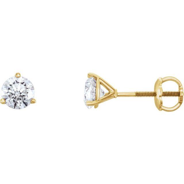 14K Yellow 3/4 CTW Diamond Earrings