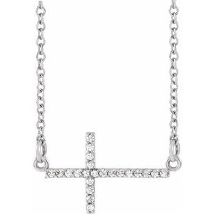 "14K White 1/10 CTW Diamond Sideways Cross 16-18"" Necklace"